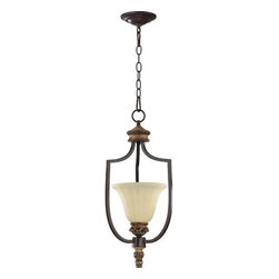 Quorum International - Quorum International 3101 Single Light Mini Pendant from the Capella Collection - Single light mini pendant featuring Amber Scavo GlassRequires 1 100w Medium Bulb (Not Included)Height measured not including 2 sections of 8' chain between fixture and ceiling canopy