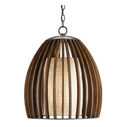 Currey & Company - Carling Pendant by Currey & Company - An intriguing blend of textures, tones and forms distinguish the Currey & Company Carling Pendant. The light from a single bulb is diffused through a cylinder of coarse Putty Gunny linen. This shade is surrounded by an egg-shaped cage of open Polished Fruitwood slats. Both components are supported by wrought iron finished in a silvery Old Iron. Currey & Company creates history by acknowledging traditions from the past and by producing rare and enduring innovative products.