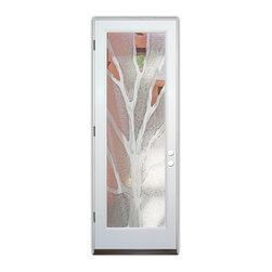 Sans Soucie Art Glass (door frame material Plastpro) - Glass Front Entry Door Sans Soucie Art Glass Branches 2D - Sans Soucie Art Glass Front Door with Sandblast Etched Glass Design. Get the privacy you need without blocking light, thru beautiful works of etched glass art by Sans Soucie!This glass is semi-private. Door material will be unfinished, ready for paint or stain.Bronze Sill, Sweep.Satin Nickel Hinges. Available in other finishes, sizes, swing directions and door materials.Dual Pane Tempered Safety Glass.Cleaning is the same as regular clear glass. Use glass cleaner and a soft cloth.