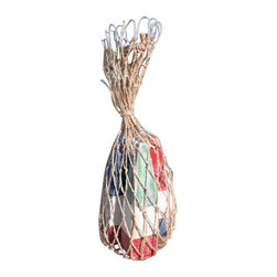 Nautical Wood Miniature Buoys- Blue/White/Red, Red/White/Blue, Green/White/Red - Set of three miniature buoys strung with a jute cord and packaged in a genuine fish net bag.