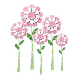 My Wonderful Walls - Daisy Wall Stickers - Decals - Set of 5 - - Set of 5 large daisy flower wall decals