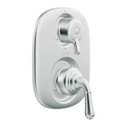 """Moen - Moen T4110 Chrome Moentrol Valve Trim, 2-Handle 2-Function Balanced Cartridge - Moen T4110 is part of the Monticello bath collection. Moen T4110 is a new bathroom decor style by Moen. Moen T4110 has a Chrome finish. Moen T4110 Moentrol transfer valve only trim fits any MPact common valve system or MPact Moentrol 1/2"""" Valve. Valve sold separately. Moen T4110 is part of the Monticello bath collection with its simple beauty and elegant lines this collection brings a timeless design into any homes decor. Moen T4110 transfer valve trim includes dual-function pressure balancing Cartridge. Moen T4110 is a two lever handle transfer valve trim only, lower handle adjusts temperature and volume, upper handle controls water distribution. Moen T4110 Moentrol pressure balancing valve maintains water pressure and controls temperature. Moen T4110 is approved by ADA. Chrome is a proven finish from Moen and provides style and durability. Moen T4110 metal lever handle meets all requirements ofADA ICC/ANSI A117.1 and CSA to meet CSA B-125, ASME A112.18.1M. Lifetime Limited Warranty."""
