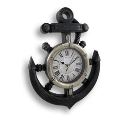 Wooden Look Nautical Ship`s Wheel and Anchor Wall Clock - This plastic framed ship`s wheel and anchor wall clock features a pie pan face and has Roman numeral markers. It has a painted black and silver woodgrain finish. The clock measures 15 inches tall, 11 inches wide and 1 3/4 inches deep. The clock takes a single AA battery. It`s perfect for any room with a nautical theme.