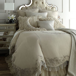 "Callisto Home - Callisto Home Queen Grace Skirted Duvet Cover, 92"" x 96"" - Callisto Home specializes in taking traditional looks and making them modern as demonstrated by these ruffled and embroidered netting-lace bed linens in natural. Made of rayon. Dry clean. Imported. ""Grace"" duvet covers have an attached skirt. Dust s..."