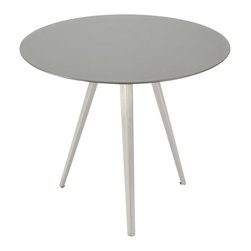 Silver Lining Table - Slim wood, sleek stainless steel and a simplistic shape combine to form an effortlessly chic and smart table that will work any room into a stylish frenzy. The tripod legs lend a modern edge to a classic round top. The soft gray tone ensures an understated style staple that will function as a side piece, or focal feature.