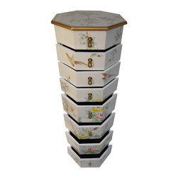 """n/a - Asian White Lacquer Floral Painted Pedestal With Drawers - Beautiful octagonal 8 Drawer Oriental white lacquer Pedestal is 40 inches high and hand painted in Chinese floral design with gold border.  Solid wood construction with brass hardware and felt lined drawers. Hand Painted Chinese lacquer front, back and top with over seven coats of  lacquer.  Use this for lingerie in the bedroom or as a jewelry box or a plant stand with storage and great looks. We have been importing these fine quality items from China since 1984.  Looks great in modern, traditional or Asian room. Measures 14.5"""" x 14.5"""" x 40"""" high, Drawers vary in depth, Bottom to Top, 5.25 to 3.25 """" deep"""