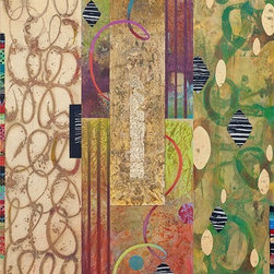 """Jungle Beat"" Artwork - Jungle Beat captures the rhythm of music in layered gold leaf enhanced with the texture of old Indian beadwork and collaged elements. This triptych can be hung together or separately and glows when light hits the gold leaf."