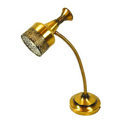 Brass Gooseneck Desk Lamp - Brass gooseneck desk lamp with intricate filigree detailing.