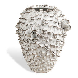Interlude Home - Lucidum Tall Vase - Going for coastal beach chic? This artisan white and brown ceramic vase will help you get there. Looking like a barnacle-covered beauty, it brings an organic feel to sea-worthy collections on a shelf or table.