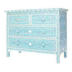 Turquoise Bone Inlay Chest - Vibrant and striking, this turquoise chest will make a statement in any space.