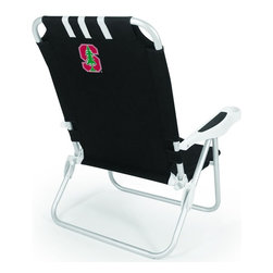 "Picnic Time - Stanford University Monaco Beach Chair Black - The Monaco Beach Chair is the lightweight, portable chair that provides comfortable seating on the go. It features a 34"" reclining seat back with a 19.5"" seat, and sits 11"" off the ground. Made of durable polyester on an aluminum frame, the Monaco Beach Chair features six chair back positions and an integrated cup holder in the armrest. Convenient backpack straps free your hands so you can carry other items to your destination. Rest and relaxation come easy in the Monaco Beach Chair!; College Name: Stanford University; Mascot: Cardinal; Decoration: Digital Print"