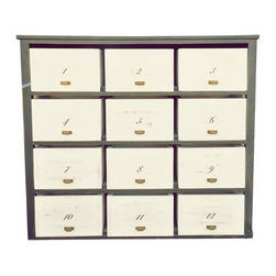Pine Chest Drawers - Pine chest of drawers with thwelve drawers Black painted frame and white painted drawers, with hand-painted numbers on the surface.