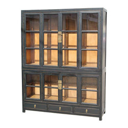 Mortise & Tenon - Brixton Asian Influenced Home Library Bookcase - This two-piece wooden bookcase is both old-world and urbane. Antiqued brass hardware tops four bifold doors and three drawers for storing your favorite books or keepsakes in elegant style.