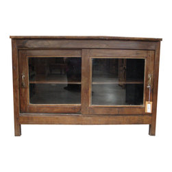 Old World Display Case - This is a beautiful Old World Display Case. The stand out way to showcase some special items. This would also make a great TV stand! This Old World Display Case made from recycled wood is truly unique and worthy of admiration. Old World Style Furniture can be added to almost any home decor.Approx