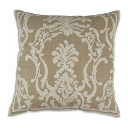 """Lili Alessandra - Lili Alessandra Louie Linen Natural & White Decorative Pillow - Elaborate prints, plush fabric and elegant details define the unique and distinctive style of Lili Alessandra. Tasteful yet full of textured detail, the stately Louie decorative pillow has a sophisticated look. In an embroidered white linen applique, a scrolling pattern adorns this natural linen pillow. Give a bedroom or living space a dramatic layered look by coordinating this textured accent with other Lili Alessandra throw pillows, blankets and bedding (available separately). Pillow includes a zipper closure and a 95/5 feather down insert. Lili Alessandra textiles reflect a hand made artistry that may result in slight and expected design variations. Professional cleaning recommended. Pillow measures 24"""" Square."""