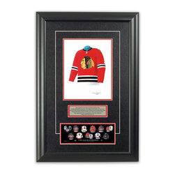 "Heritage Sports Art - Original art of the NHL 1962-63 Chicago Blackhawks jersey - This beautifully framed piece features an original piece of watercolor artwork glass-framed in an attractive two inch wide black resin frame with a double mat. The outer dimensions of the framed piece are approximately 17"" wide x 24.5"" high, although the exact size will vary according to the size of the original piece of art. At the core of the framed piece is the actual piece of original artwork as painted by the artist on textured 100% rag, water-marked watercolor paper. In many cases the original artwork has handwritten notes in pencil from the artist. Simply put, this is beautiful, one-of-a-kind artwork. The outer mat is a rich textured black acid-free mat with a decorative inset white v-groove, while the inner mat is a complimentary colored acid-free mat reflecting one of the team's primary colors. The image of this framed piece shows the mat color that we use (Red). Beneath the artwork is a silver plate with black text describing the original artwork. The text for this piece will read: This original, one-of-a-kind watercolor painting of the 1962-63 Chicago Blackhawks jersey is the original artwork that was used in the creation of this Chicago Blackhawks uniform evolution print and tens of thousands of other Chicago Blackhawks products that have been sold across North America. This original piece of art was painted by artist Tino Paolini for Maple Leaf Productions Ltd. Beneath the silver plate is a 3"" x 9"" reproduction of a well known, best-selling print that celebrates the history of the team. The print beautifully illustrates the chronological evolution of the team's uniform and shows you how the original art was used in the creation of this print. If you look closely, you will see that the print features the actual artwork being offered for sale. The piece is framed with an extremely high quality framing glass. We have used this glass style for many years with excellent results. We package every piece very carefully in a double layer of bubble wrap and a rigid double-wall cardboard package to avoid breakage at any point during the shipping process, but if damage does occur, we will gladly repair, replace or refund. Please note that all of our products come with a 90 day 100% satisfaction guarantee. Each framed piece also comes with a two page letter signed by Scott Sillcox describing the history behind the art. If there was an extra-special story about your piece of art, that story will be included in the letter. When you receive your framed piece, you should find the letter lightly attached to the front of the framed piece. If you have any questions, at any time, about the actual artwork or about any of the artist's handwritten notes on the artwork, I would love to tell you about them. After placing your order, please click the ""Contact Seller"" button to message me and I will tell you everything I can about your original piece of art. The artists and I spent well over ten years of our lives creating these pieces of original artwork, and in many cases there are stories I can tell you about your actual piece of artwork that might add an extra element of interest in your one-of-a-kind purchase."