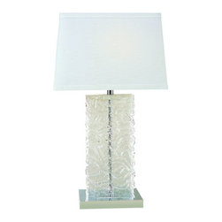 Trend Lighting - Stalagmos TT5995 - Table Lamp | Trend - Trend Lighting�Stalagmos�TT5995�table lamp features�an�Off-White Coarse Linen�shade.�Polished Chrome�finish. Manufacturer:�Trend LightingSize: Shade: 11�in. height x 16.75 in. width x 8 in. depth x 32 in. total height x 17 in. widthLight Source:�1 x 150 Watt Incandescent�or CFL / LED Equivalent�- not included