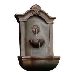 "Sunnydaze Decor - Marina Outdoor Wall Fountain Iron - Dimensions: 17""Wide x 10.5"" Deep x 29.5""High, 14 lbs"