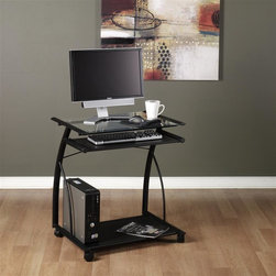 Calico Designs - L Cart - Black and Clear Glass - Metal Sliding Keyboard: 22.5 in. W x 11 in. D . Bottom Shelf / CPU Holder: 23 in. W x 16 in. D. Tempered Safety Glass. Powder Coated Steel for Durability. (4) Casters for Mobility with 2 Locking. Overall Dimensions: 27 in. x 18.75 in. x 29 in. H. Main Work Surface: 23 in. L x 18.75 in. D