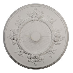 """Ekena Millwork - 25 1/2""""OD x 5 1/2""""P Brontes Ceiling Medallion - 25 1/2""""OD x 5 1/2""""P Brontes Ceiling Medallion. Our ceiling medallion collections are modeled after original historical patterns and designs. Our artisans then hand carve an original piece. Being hand carved each piece is richly detailed with deep relief, sharp lines, and a truly unique touch. That master piece is then used to create a mould master. Once the mould master is created we use our high density urethane foam to form each medallion. The finished look is a beautifully detailed, light weight, solid construction, focal piece. The resemblance to original plaster medallions is achieved only by using our high density urethane and not vacuum formed, """"plastic"""" type medallions. - Medallions can be cut using standard woodworking tools to add a hole for electrical or a ceiling fan canopy. - Medallions are light weight for easy installation. - They are fully primed and ready for your paint. If you have any questions feel free to ask. These are in stock and available for immediate shipment."""