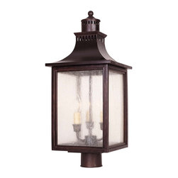 Savoy House - Monte Grande Post Lantern - A grand welcome for any stately address- at an incredible price. Finished in English Bronze with pale cream seedy glass, these fixtures create an easy appearance of unmistakable exterior elegance.