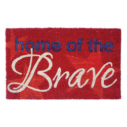 Entryways - Home of the brave Non Slip Coir Doormat - This beautifully designed doormat will enhance your entry way or patio. It's made from the highest quality all natural coconut fiber with a PVC non slip backing.
