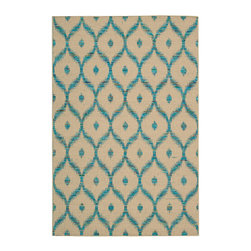 """Nourison - Nourison Spectrum SPE02 2'6"""" x 4' Beige Turquoise Area Rug 21559 - With its playful symbolic pattern, subtle sheen, stunning shades of beige and turquoise, and sensational tone and texture this enchanting hand-woven rug is certain to lend an effortless �lan to any area."""