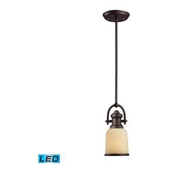 Elk Lighting - Elk Lighting 66171-1-LED Brooksdale Transitional Mini Pendant Light - Elk Lighting 66171-1-LED Brooksdale Transitional Mini Pendant Light In Oiled Bronze