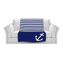 DiaNoche Designs - Fleece Throw Blanket by Organic Saturation - Navy Blue Love Anchor Nautical - Original Artwork printed to an ultra soft fleece Blanket for a unique look and feel of your living room couch or bedroom space.  DiaNoche Designs uses images from artists all over the world to create Illuminated art, Canvas Art, Sheets, Pillows, Duvets, Blankets and many other items that you can print to.  Every purchase supports an artist!