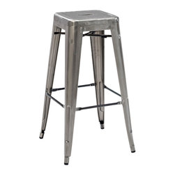 """Crosley Furniture - Crosley Furniture Amelia Metal Cafe Barstool in Galvanized - Set of 2 - Originally made famous in the quaint bistros of France, these midcentury replicas of original Cafe seating will offer a dose of nostalgia combined with careful consideration for your wallet.  This inspired revival evokes a sense of a true vintage find. The Amelia collection is available in a variety of colors, including our unique galvanized finish. This raw steel look is hands prepared to enhance the inherent tones of the metal. Designed to acquire an aged patina, the galvanized finish will naturally rust over time, giving it a unique industrial """"relic"""" look. (Sold in Pairs)"""