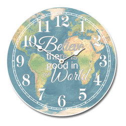 "Tyler - Believe Map Clock, 18"" - Colorful Map Clock"