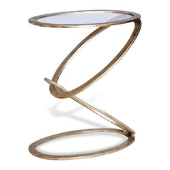 Interlude Home - Mobius End Table - If you're looking for a truly stunning end table, one that will turn heads and take breaths away, set your eyes on this beauty. With an extremely unique design, this piece positively screams gallery quality.