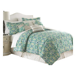 Natasha Green Floral Medallion 8-piece Comforter Set King Jade - Comforter sets aren't just for sleeping. They can also be regarded, like armoires and suits of armor, as a practical piece of art for the bedroom. This eight-piece set includes euro shams, decorative pillows, pillow shams, and a tailored bed skirt, not to mention an oversized, overfilled comforter wrapped in 100% polyester.