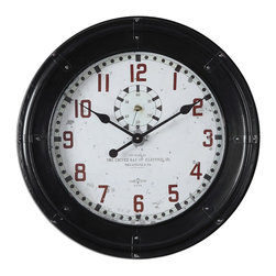Oversize Black Philly Wall Clock - *Rustic Black Frame With An Antiqued Clock Face