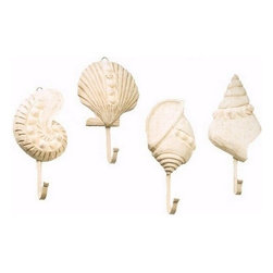 "Set of Four Wooden Shell Hangers - The set of four wooden shell hangers measure 8""H each. They will add a definite nautical touch to whatever room they are placed in and are a must have for those who appreciate high quality nautical decor. They make a great gift, impressive decoration  will be admired by all those who love the sea."