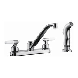 Design House - Aberdeen Low Arch Kitchen Faucet w Sprayer - 48 in. soft hose pullout side sprayer. Quick connect system. Brass waterways. Washer less cartridge. Three hole. 8 in. center mount. 0.25 in. quarter turn stop. Dual lever handle configuration. 1.9 gallon per minute at 60 PSI flow rate. 8.56 in. spout reach. UPC, cUPC, ASME, ANSI, ADA, NSF, AB-1953 compliant. Made from zinc. Polished chrome color. 15.62 in. W x 10.13 in. D x 5.88 in. H. Warranty. Installation InstructionsAberdeen low arch kitchen faucet with sprayer which eliminates baked on residue and rinses dishes and silverware clean of food and grime in hard to reach areas. The brass waterways contain zinc and copper which are known to prevent antimicrobial growth ensuring safe and clean water for your family. This faucet has a contemporary finish and traditional design to accent the comfort and style of any kitchen. This product adheres to industry leading practices and standards.