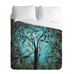 DENY Designs - madart inc Romantic Evening Duvet Cover - Turn your basic, boring down comforter into the super stylish focal point of your bedroom. Our Luxe Duvet is made from a heavy-weight luxurious woven polyester with a 50% cotton/50% polyester cream bottom. It also includes a hidden zipper with interior corner ties to secure your comforter. it's comfy, fade-resistant, and custom printed for each and every customer.