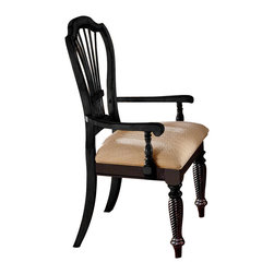 Hillsdale Furniture - Country Inspired Wood Arm Chairs w Black Fini - Shaped backs with fan accents and curved arms add warmth and charm to these country inspired arm chairs, which also feature carved wood legs and turned accents for added visual interest. The chairs are finished in rubbed black and have contrasting ivory upholstered seats. They are sold in a set of two. For residential use. Set of 2. Rubbed Black Finish. 24.75 in. W x 23.5 in. D x 43 in. H