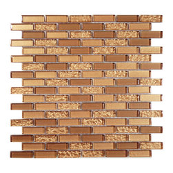 "Euro Glass - Copper  Uniform Brick Bronze/Copper Crystile Blends Glossy Glass - Sheet size:  11.75"" x 11.75"".        Tile Size:  5/8"" x 2""        Tiles per sheet:  108        Tile thickness:  1/4""        Grout Joints:  1/8""        Sheet Mount:  Mesh Backed        Sold by the sheet    -  Our Crystile Series offers a wide range of hues to suit your mood and your style! The vibrancy and depth of our crisp smooth glass results in a unique and dramatic effect for use in both residential and commercial installations.  The Crystile Series is virtually limitless in its range of applications and is suitable for the following walls backsplashes and any area just waiting to be transformed by light and color! Our sheets of mesh-mounted glass can be used to produce and endless variety of field patterns borders and medallions. This Series is ideal for use alone or as an exquisite complement to ceramic and natural stone materials. Let creativity be your guide. Crystile tiles are are easy to clean and maintain. Our tiles will never discolor and will continue to provide a smooth and luxurious appearance for many years to come."