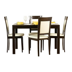 """Aeon Furniture - Westport Dining Table Set with Newport Dining Chairs in Coffee - Set includes table and 4 chairs. Westport Dining Table:. Study Solid Beech Wood Frame. Beech Veneer Over MDF Table Top. Extendable via Sliding Mechanism and Hidden Leaf. CARB Rated. Rich Coffee Finish. Assembly Required. Open: 64 in. L x 31.5 in. W x 29.25 in. H. 46.5 in. L x 31.5 in. W x 29.25 in. H (66 lbs.). Newport Dining Chairs:. Stylishly Designed Solid Beech Wood Dining Chairs in a Rich Coffee Finish with a Beige Leatherette Padded Seat and Back. Assembly Required. Seat Height: 18 in.. 20 in. L x 18 in. W x 37.25 in. H (12.75 lbs.)With its great look and contemporary design, this extendable dining table meets your dining and entertainment needs while enhancing the look of your home.  The table is constructed of a solid beech wood frame, stained in a rich coffee finish.   The self-contained 17.5"""" extension leaf easily transforms this table from an intimate piece to the social center of your home. Stylishly designed with functionality and comfort in mind, this solid beech wood chair is simple yet elegant.  Its padded back and seat comfortably encourages guests to linger for quality time with family and friends."""