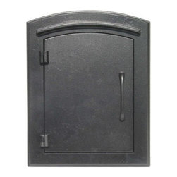 "Qualarc, Inc. - Manchester Mailbox, Plain Door, Black - This decorative cast aluminum mailbox insert can be matched with an optional newspaper holder or address plaque. The doors are sealed against the weather and its 22 gauge steel masonry box is electro-galvanized and powder coated to last. Faceplate Dimensions: 11"" x 14.5"". Masonry Can Dimensions: 16"" x 8.5"" x 12""."
