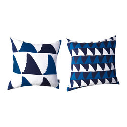 """Kaypee Soh - Mano Pillow - Midnight - Mano - Mano is the Hawaiian name for """"shark"""", a beautiful, fierce creature representing great power and wisdom in the Hawaiian culture. Pair this simple graphic with our Nautilus pattern for a perfect match."""