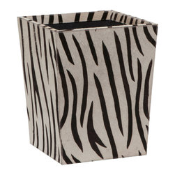 "Pigeon & Poodle - Pigeon & Poodle Nairobi Square Wastebasket - Pigeon & Poodle creates a collection of inspired home accessories for the modern interior. Expressing sassy style, the square Nairobi waste basket enriches a bathroom, bedroom or office with alluring sophistication. Made from elegant black and white zebra-inspired print hair on hide, this geometric container features a navy canvas interior. 11.5""W x 11.5""D x 14""H."