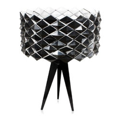 Black Jack Table Lamp - ControlBrand Black Jack Table LampThe black jack table lamp is made of carbon steel and has a very unique shade in that the shade can be converted from black to white by flipping the units on the shade. So whether you feel like having a white lamp or a black lamp or maybe both, this fixture would be for you.Material: Carbon Steel, ABS