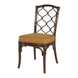 Hammary - Hammary Boracay Dining Chair in Rattan w/ Fabric Cushion [Set of 2] - The Boracay Dining Chair by Hammary is inspired by island lifestyle.  This rattan chair is has a dark brown stain which is contrasted by the golden colored fabric cushion creating a rich  exotic feel.