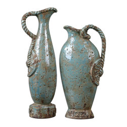 Uttermost - Freya Sky Blue Vases, Set of 2 - What tomb have you raided to find such antiquities? These beautiful, sky blue ceramic vases have a distressed, crackled finish that looks old thanks to the khaki undertones and the braided handles. They're so realistic, someone may report you to customs.