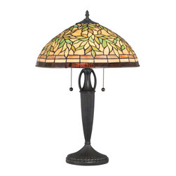 Quoizel - Quoizel Vintage Bronze Lamps - SKU: TF1613TVB - A nature-inspired art glass shade allows the 24``-high Woodward table lamp to enhance a range of decorating schemes. The shade contains 378 pieces of art glass that have been hand-assembled using the copper foil technique developed by Louis Comfort Tiffany. The Vintage Bronze finish grounds the detailed base in a traditional tone. Ample illumination is provided by two 75-watt medium-base bulbs.