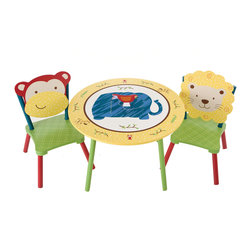 Levels of Discovery - Jungle Jingle Table and 2 Chair Set - This 3 piece set coordinates with the CoCaLo Baby Jungle Jingle bedding collection The sturdy table and chair set provides the perfect place for playing, coloring or sharing a snack with a friend The table top opens to reveal a secret three section storage compartment and the chairs feature adorable monkey and friendly lion seat backsSecret table top storage compartment. Two chairs with monkey and lion seat backs. All products have instructions included for assembly. .