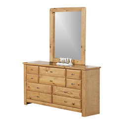 Chelsea Home - 9-Drawer Dresser with Large Mirror - Rustic style. Frame construction with rounded edges for strong and safe youth furniture. Baltic birch plywood filler panels for smooth feel and finish. Centre mounted metal kenlin drawer glide system with solid pine fronts. Mirror thickness: 2 in.. Warranty: One year. Made from solid ponderosa pine wood. Caramel finish. Made in USA. No assembly required. Mirror: 32 in. W x 40 in. H (21 lbs.). Dresser: 56 in. W x 18 in. D x 32 in. H (110 lbs.). Overall: 56 in. W x 18 in. D x 72 in. H (131 lbs.)