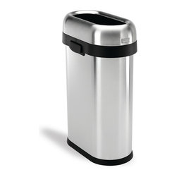 Frontgate - simplehuman Slim Open Trash Can - Brushed stainless steel. Sturdy, nonskid base. Convenient easy-lift handles. Removable lid for quick bag change. Use with standard trash bags. Slide our simplehuman Slim Open Trash Can between appliances or at the end of counters for convenient disposal in a space-saving shape. The sturdy stainless steel construction, lift-off lid, and high volume make this receptacle an ideal choice for busy families and commercial spaces, alike.  .  .  .  .  .